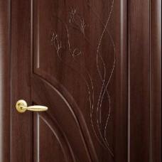 Двери Новый стиль Маэстра ПВХ Амата ПГ с гравировкой каштан Новый Стиль