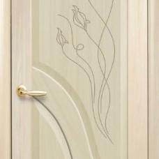 Двери Новый стиль Маэстра ПВХ Амата ПГ с гравировкой ясень Новый Стиль